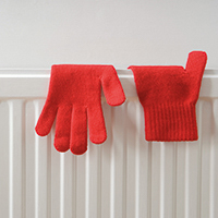 gloves and heater